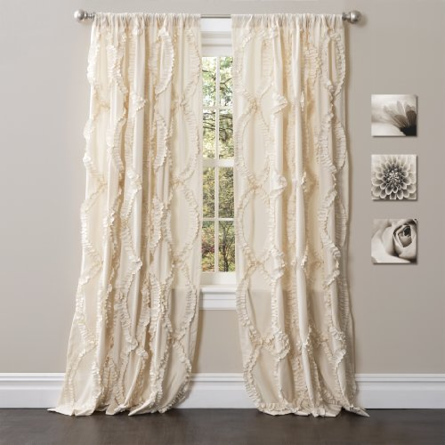Lush Decor Avon Window Curtain Ivory Panel for Living, Dining Room, Bedroom (Single), 84