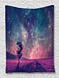 Ambesonne Galaxy Tapestry Lonely Tree Decor NASA Furnished Elements Artwork Print, Bedroom Living Kids Girls Boys Room Dorm Accessories Wall Hanging Tapestry, Navy Dark Magenta Black