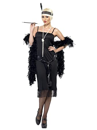 Ladies Sexy Sultry Black Flapper 1920s Fancy Dress Costume Outfit 8