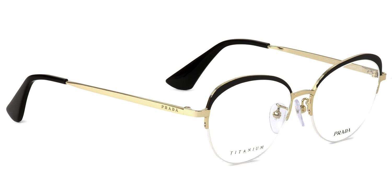 【プラダ国内正規品販売認定店】PR51UVD 1AB1O1 54サイズ PRADA (プラダ) メガネフレーム チタン ナイロール ボストン 日本製 メンズ レディース B077MXFD2T ダテメガネ用レンズ(度なし、UVカットつき) ダテメガネ用レンズ(度なし、UVカットつき)