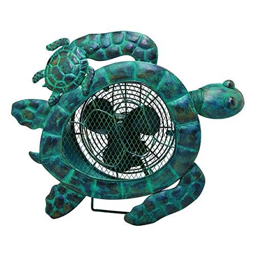 (DecoBREEZE Decorative Table Fan, Desk Fan, Two Speed Electric Tabletop Fan, Figurine Fan, 7 inch, Sea Turtle)
