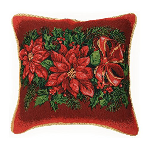 Violet Linen Decorative Christmas Poinsettias Design Tapestry Throw Pillow, 18