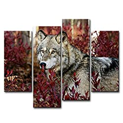 So Crazy Art® 4 Piece Wall Art Painting Wolf In The Forest Pictures Prints On Canvas Animal The Picture Decor Oil For Home Modern Decoration Print