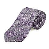 Lantier Designs Men's 100% Silk Paisley Jacquard Woven Necktie, 3'', Purple/Mauve