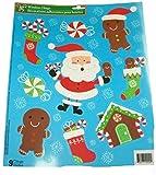 Christmas Reusable Glitter Window Clings ~ Santa, Gingerbread Men, Stockings and Candies (9 Clings, 1 Sheet)
