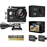 Goldwangwang 1080p WIFI Sports Action Camera 12MP HD Waterproof Camcorder 2 Inch LCD Screen 140 Degree Wide Angle Len W/ 2 Rechargeable Batteries Black