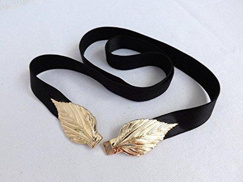 Black Elastic Waist Belt. Gold Leaf Buckle. Elegant Evening Dress belt. Stretch Belt.