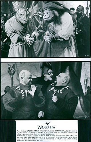 Old-time photo of 1997Two scene from the film Warriors of VirtuetopTop: Mosely(Jason Hamer- left) and Willy Bees:(Roy Ceballos) Bottom: (formerly larboard to right): Dullard (Stuart Kingston), Barbarotious (Qu Ying) and Mantose (Lee Arenberg).