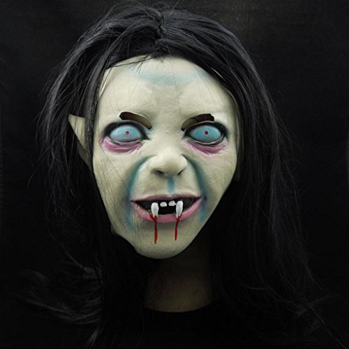 Aulley Halloween Witch Ghost Mask Grudge Sadako Sleeve Head Zombie Mask Black mask (Grudge Wig)