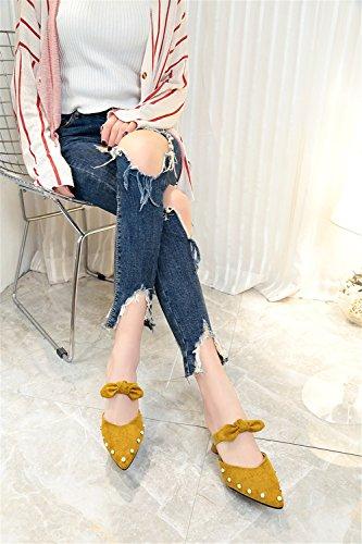 Scamosciata Exing Beige e con da Giallo Sandali Donna A Pantofole Baotou Donna Nero Pearl Pantofole Rivets Scarpe Bow New rrYWA6PT