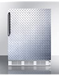 Summit FF6L7DPLADA Refrigerator, Silver With Diamond Plate
