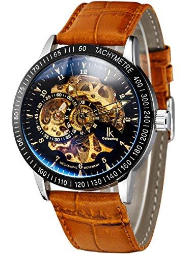 Alienwork IK mechanische Automatik Armbanduhr Skelett Automatikuhr Uhr schwarz braun Leder 98226-22