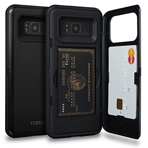 Galaxy S8 Plus Case, TORU [S8 Plus Wallet Case Black] Dual Layer Hidden Credit Card Holder ID Slot Card Case with Mirror for Samsung Galaxy S8+ Plus (2017) - Matte Black