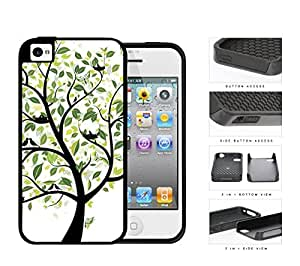 Tree With Green Leaves And Birds Nesting 2-Piece Dual Layer High Impact Rubber Silicone Cell Phone Case Apple iPhone 4 4s