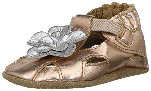 Robeez Kids' White Soft Sole-K Crib Shoe, Pretty Pansy-Metallic Rose Gold, 12-18 Months M US Infant