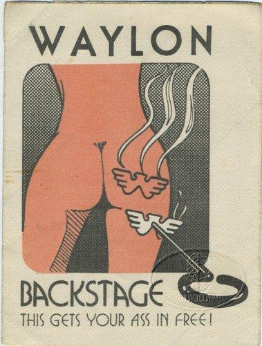 Original WAYLON JENNINGS 1970s Tour Backstage Pass