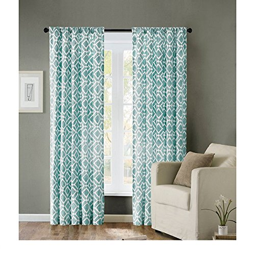 Baby Ella Drapery Panels (Single Piece Ella Blue 63 Inch Curtain Panel, Elegant Feature, Geometric Pattern, Casual Mid-Century Style, Cotton Polyester Material, Easily To Clean, Teal, Aqua, Turquoise, Baby Blue, Sky)