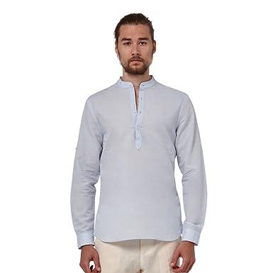 d9dda94f057b Men Mao Collar%100 Linen Shirt, Beach Wedding Shirt at Amazon Men's ...