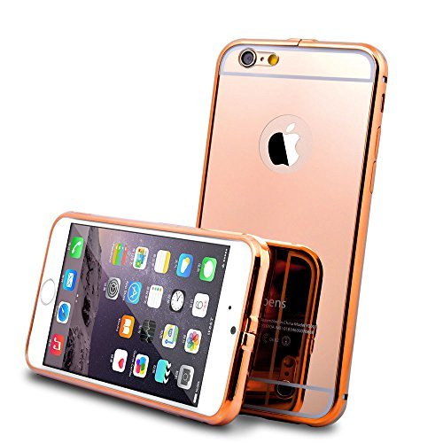 (iPhone 6 Case and 9H 0.25mm Tempered Glass Screen Protector, Roybens Luxury Metal Air Aluminum Bumper Detachable + Mirror Hard Back Case 2 in 1 cover Ultra-Thin Frame, Cleaning Cloth For Apple iPhone 6 (4.7) Rosegold)