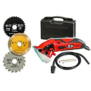 Rotorazer Compact Circular Saw & Saw Set - DIY Projects - Wood Flooring, Cut Drywall, Tile, Grout, Metal, Pipes, PVC, Plastic, Copper, Carpet, Chain, etc -w Multi Saw Blades, Dust Collector, Saw Case.