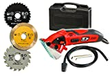 Rotorazer Multi-purpose Circular Mini Saw with 3 Interchangeable Blades and Dust Extraction System - Red