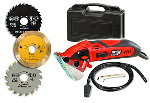 Rotorazer Multi-purpose Circular Mini Saw with 3 Interchangeable Blades and Dust Extraction System - Red (Saws Metal Mini)