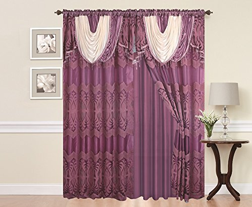"Elegant Home Window Curtain Drapes All-in-One Set with Attached Valance & Sheer Backing for Living Room, Bedroom, Dining Room, Sliding Doors # Celina (Purple, 108"" W X 84"" L)"
