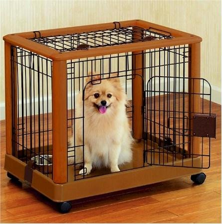 Hardwood Mobile Pet Crate Size: Small by Richell