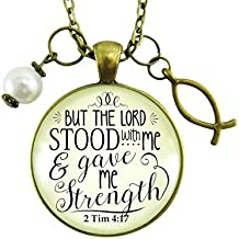 "24"" Jesus Fish Faith Necklace But the Lord Stood With And Gave Me Strength Scripture Christian Jewelry For Women"