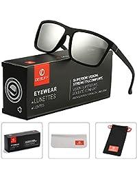 DeBuff Mens Square Polarized Sunglasses Stylish Driving Sun Glasses – TAC, UV400 (Matte Black/Silver)