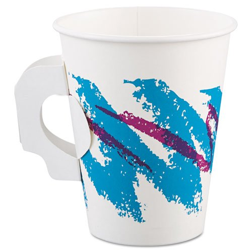 SOLO Cup Company Jazz Hot Paper Cups with Handles, 8 oz., Polycoated, Jazz Design, 50/Bag - 20 sleeves of 50 cups. 1000 per case.