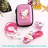 Ship by USPS, ZOEAST(TM) DIY Protectors Apple Lightning Data Cable USB Charger Data Line Earphone Wire Saver Protector for iPhone 5 5S SE 6 6S 7 8 Plus X IPad iPod iWatch (Upgrade Styles, Pink Cat)