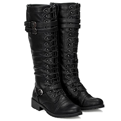 Women's Knee High Lace Up Buckle Military Combat Boots (10, Black) Zip Knee Boot