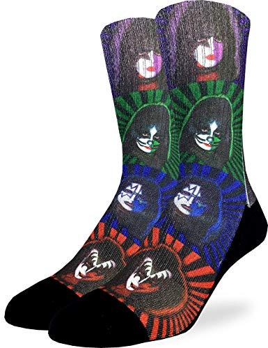 Good Luck Sock Men's Kiss Pop Art Socks - Black, Adult Shoe Size - Kiss Arts