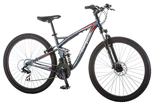 Mongoose Men's Status 2.4 27.5' Wheel Full Suspension Bicycle, Steel Blue, 18'/Medium Frame Size