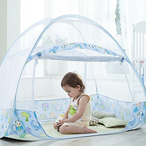 AUMEY Zippered Baby Mosquito Net Foldable Baby Bed Kids Tent Nursery Crib Canopy Netting Folding Cot Mosquito Net (592935inch) by AUMEY (Image #3)