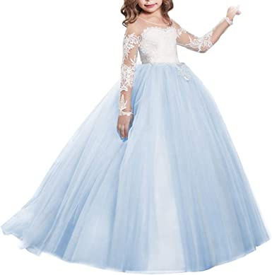 Flower Girls Lace Top Wedding Dress Bridesmaid Party Prom Communion Maxi Gown
