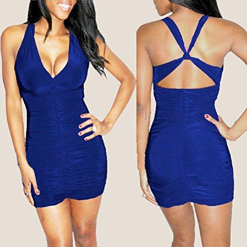 Sexy Royal Clothing Yanzhong Crossover Blue Dress Party Clubwear Night Mini Sleeveless B5AAqPHcw