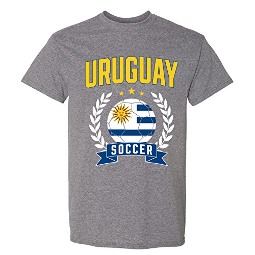 UGP Campus Apparel Uruguay Soccer Laurel - 2018 World Football Cup T Shirt - Large - Graphite (Uruguay World Cup)