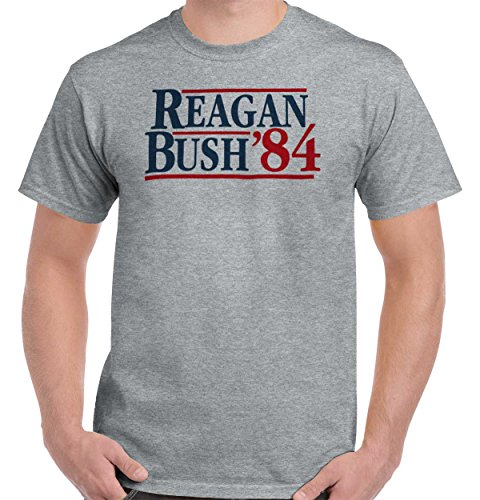 Brisco Brands Ronald Reagan George Bush 84 Campaign Shirt | USA Cool Gift T-Shirt Tee (George Bush Usa Flag)