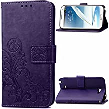 Note 2 Case, Galaxy Note 2 Case, SATURCASE Lucky Clover PU Leather Flip Magnet Wallet Stand Card Slots Case Cover for Samsung Galaxy Note II 2 N7100 Purple