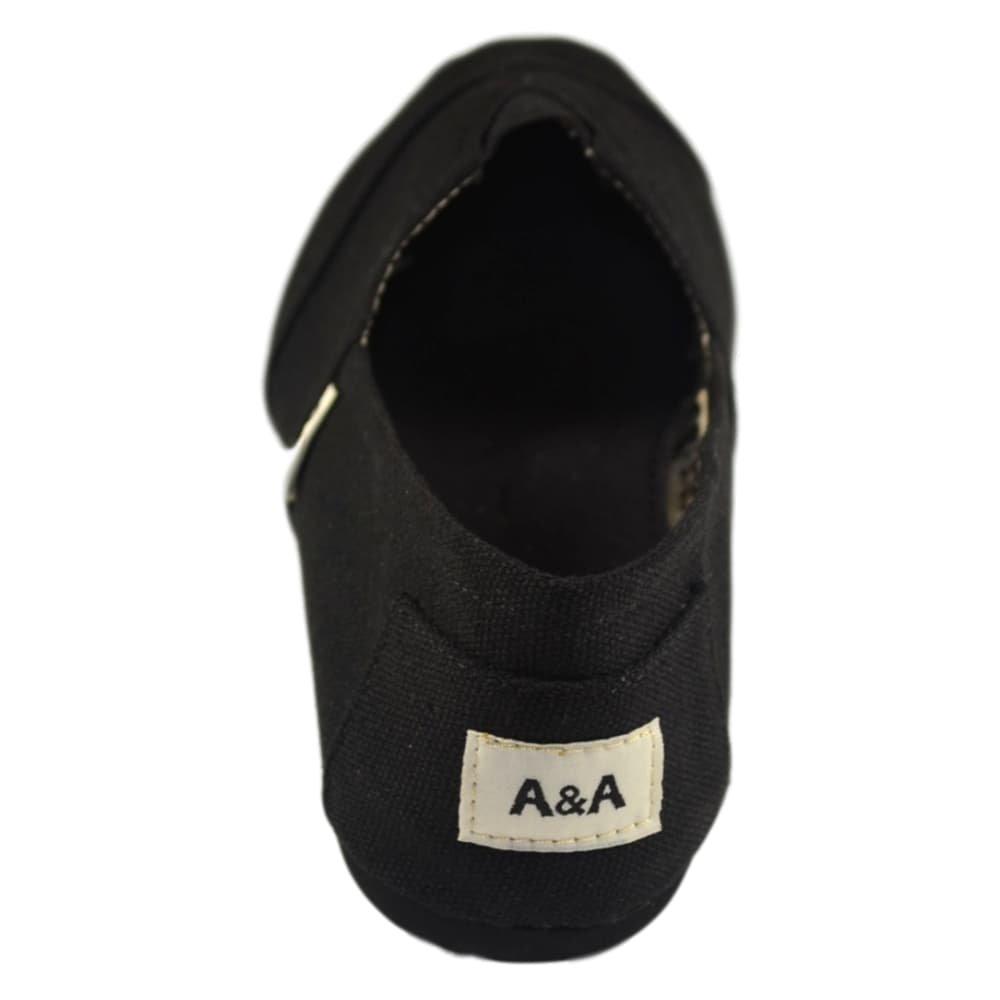 A&A Vegan Classic Slip-on Canvas Alpargatas, Casual Shoes for Women & Men (Unisex) (6 US Women / 4.5 US Men, Black on Black) by A&A (Image #5)