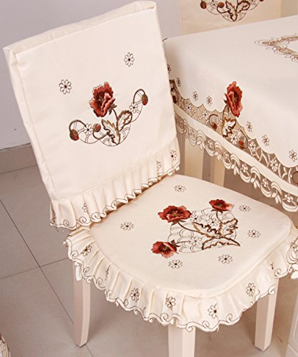 Luxury cutwork handmade embroidery floral jacquard chair back cover cushion cover set