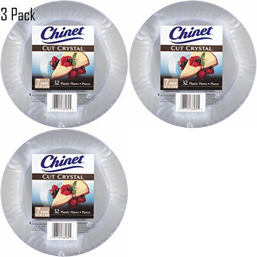 Chinet Cut Crystal Clear Plastic 7 inch Plates (96) by Chinet