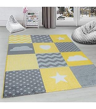 Carpettex Teppich Tapis pour Chambre d\'enfants à Carreaux Nuage Etoiles  Gris Jaune Blanc - 120x170 cm