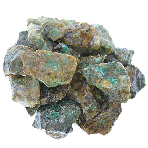 Hypnotic Gems Materials: 1 lb Bulk Rough Chrysocolla Stones from Madagascar - Raw Natural Crystals for Cabbing, Cutting, Lapidary, Tumbling, Polishing, Wire Wrapping, Wicca and Reiki Crystal Healing