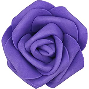 Lightingsky 7cm DIY Real Touch 3D Artificial Foam Rose Head Without Stem for Wedding Party Home Decoration (100pcs, Dark Purple)