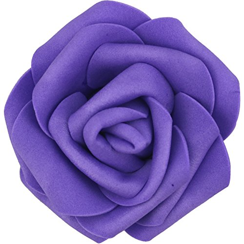 Lightingsky 7cm DIY Real Touch 3D Artificial Foam Rose Head Without Stem for Wedding Party Home Decoration (100pcs, Dark (Dark Purple Flower)