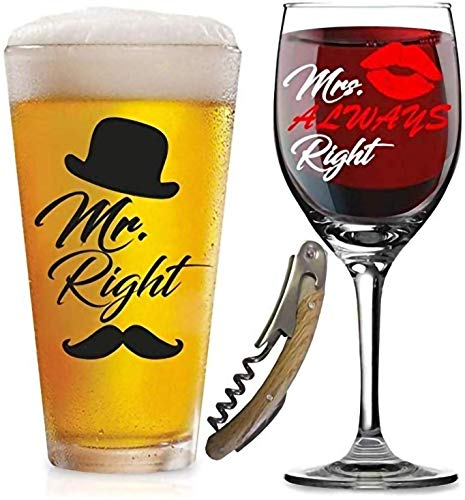 Mr. Right and Mrs. Always Right Glasses -with FREE Bottle Opener - Funny Wedding Gifts - For Engagement, Couples, Anniversary, Birthday, Newlyweds, Novelty and Bridal Shower - with Prestigious Package (Engagement Ideas Gift For An)
