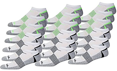 Saucony Mens Competition Arch Support and Smooth Toe Seam No Show Socks, Whiite Asst, 10-13 Sock/6-12 Shoe, 18 Pair